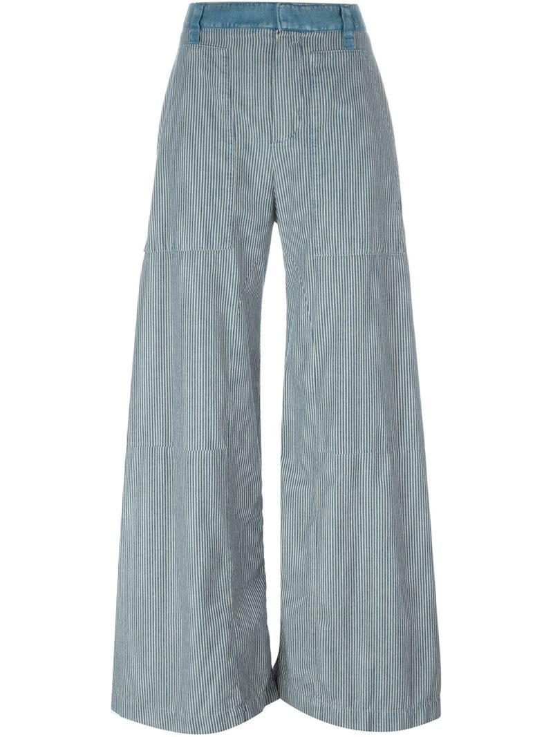 Chloé striped light denim wide leg trousers