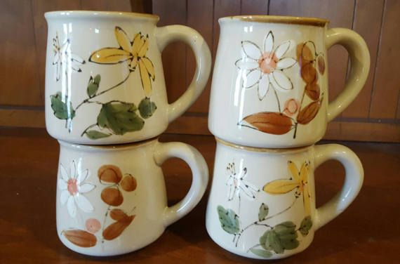 Floral Stoneware Coffee Cups Mugs HereYonder