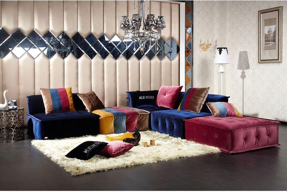 Livingroom Furniture Set Contemporary Fabric Sectional Sofa