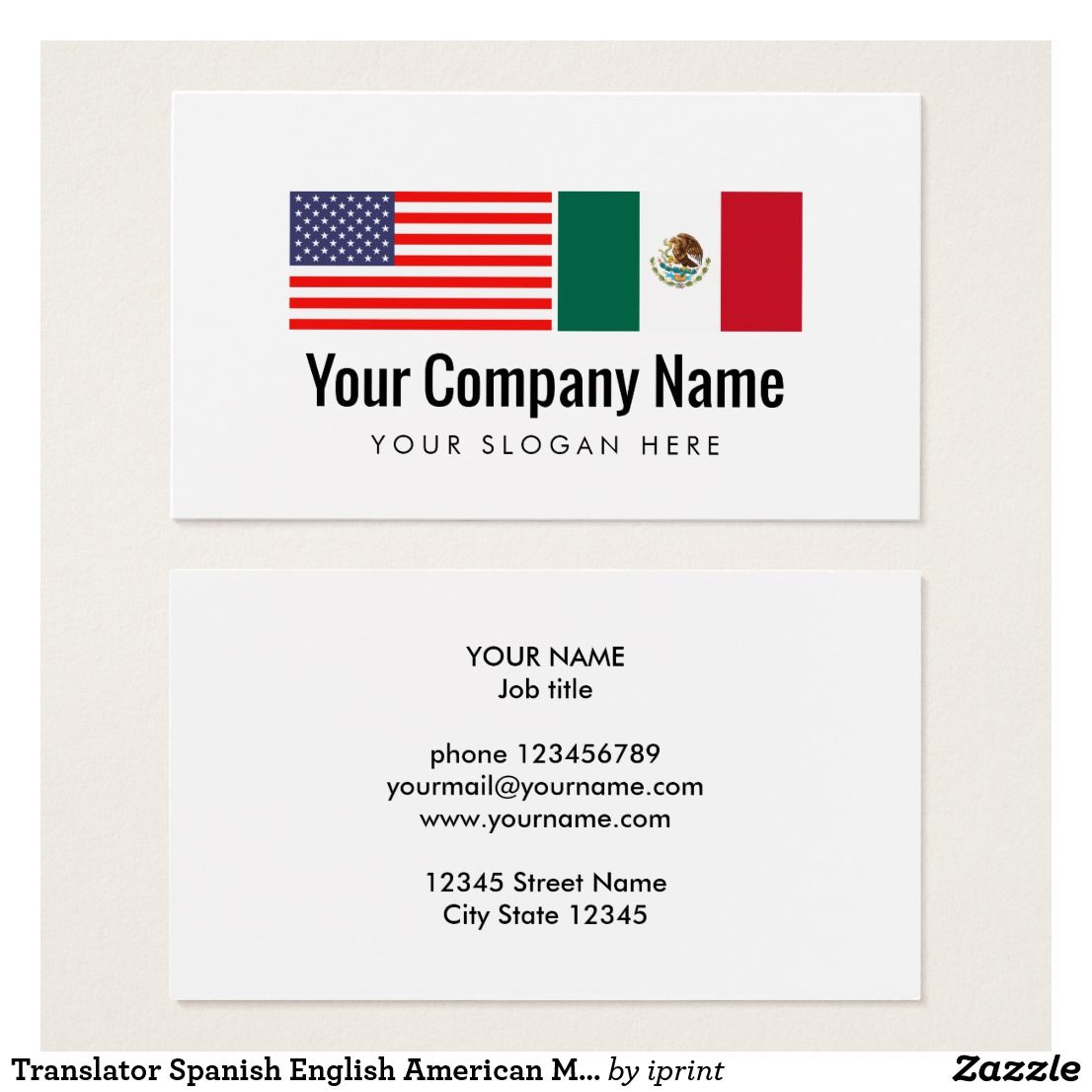 Translator Spanish English American Mexican flag Business Card ...