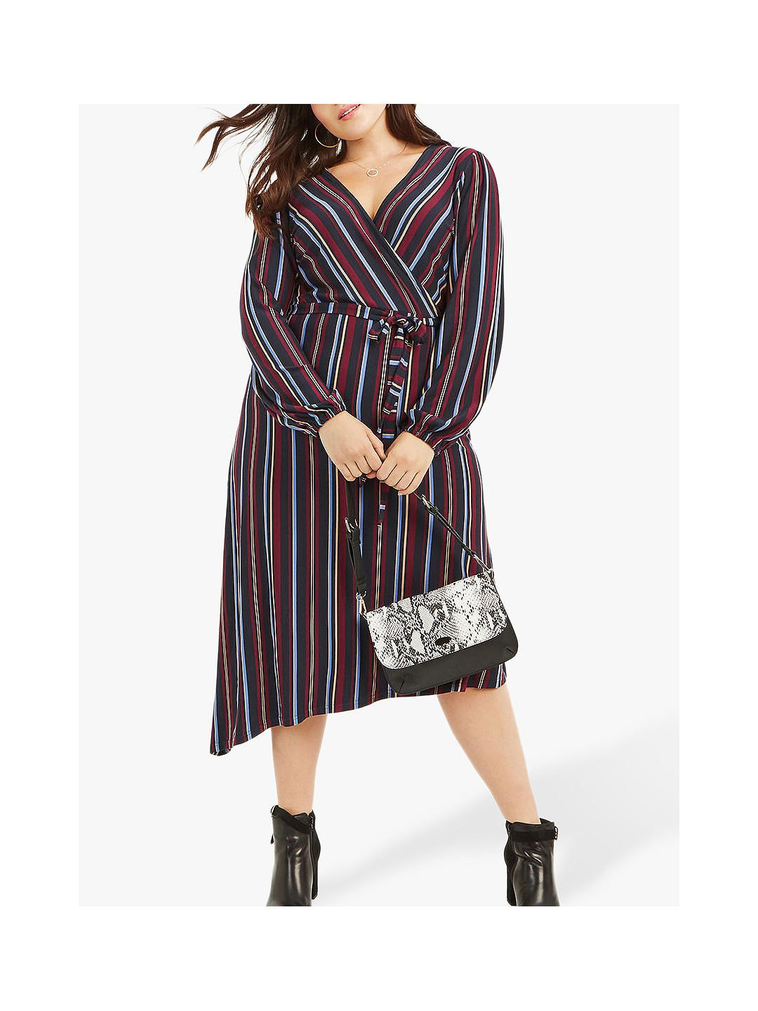 e9a7ca3a9b75 BuyOasis Curve Collegate Stripe Wrap Dress, Multi, XL Online at  johnlewis.com