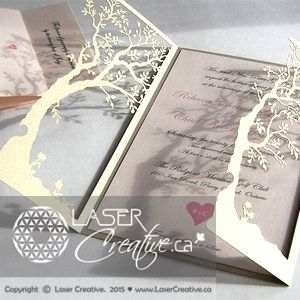 Custom Made Love Tree Laser Cut Handmade Wedding Invitations - Premium Card Stock