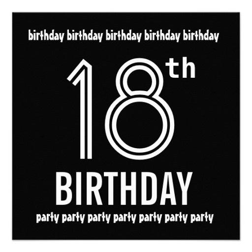 18th birthday party invite black white