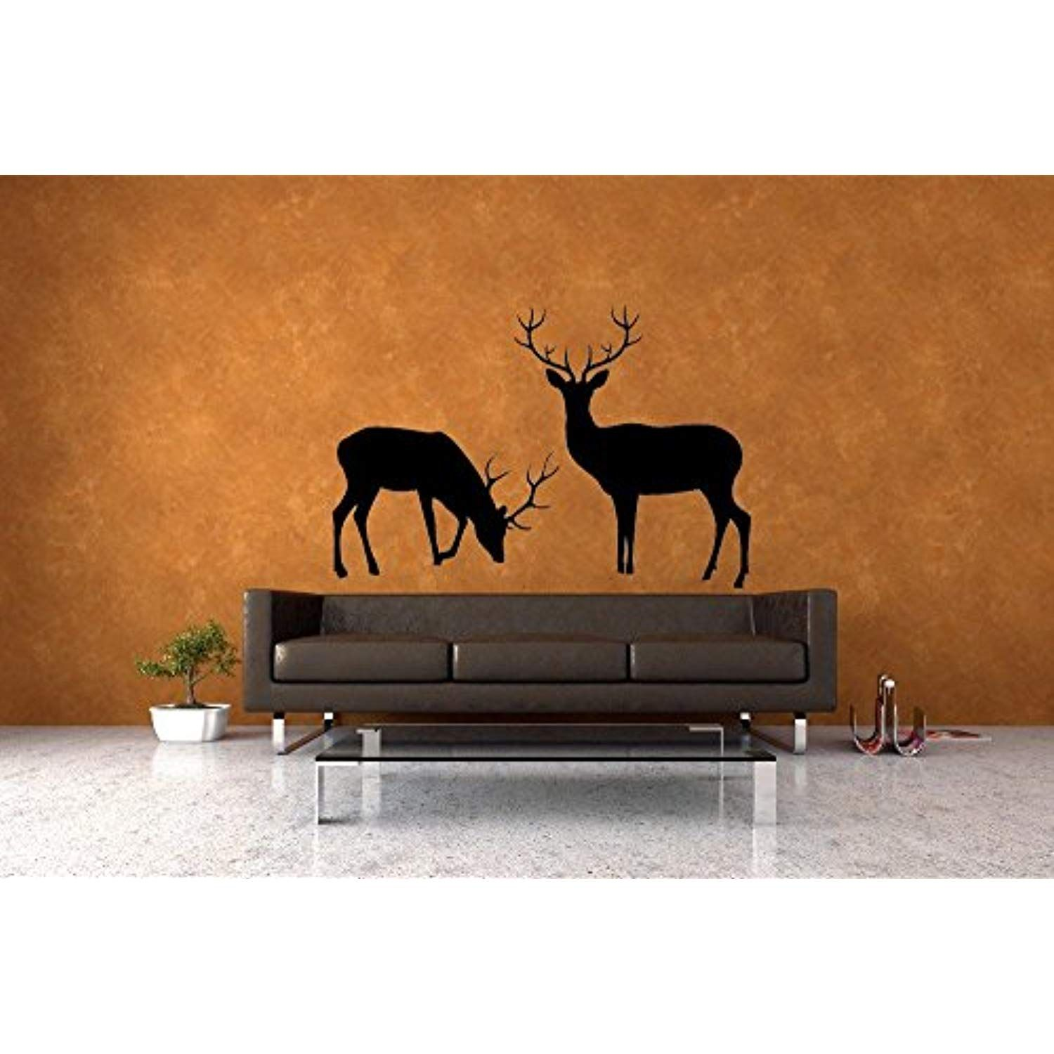 "Homefind Black 37""w x 25""h Deer Buck and Doe Set of 2 Vinyl Decals"