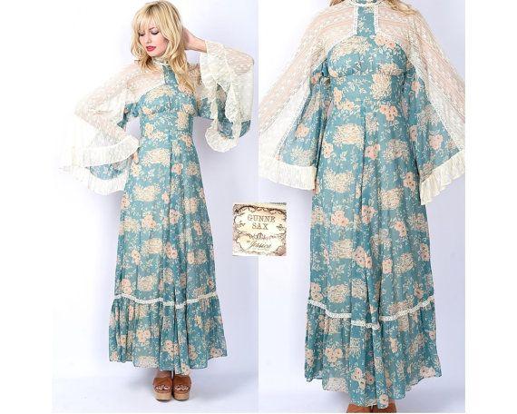 Vintage 70s Gunne Sax Blue Dress Angel Bell Kimono Slv Cream Crochet Lace XS