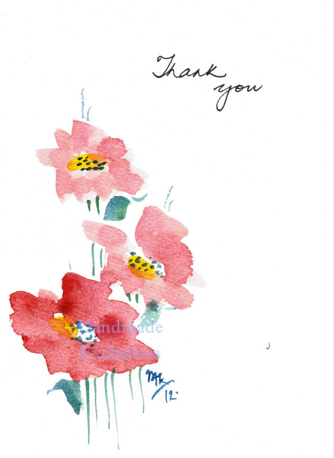 Original watercolor art for sale - Handpainted Greeting Cards Set Of 10 Red Flowers Thank You Original Watercolor Art Teacher S Gift
