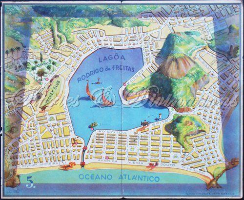 Brazil Rio De Janeiro Map Adorable 1940s Picture Map of Ipanema
