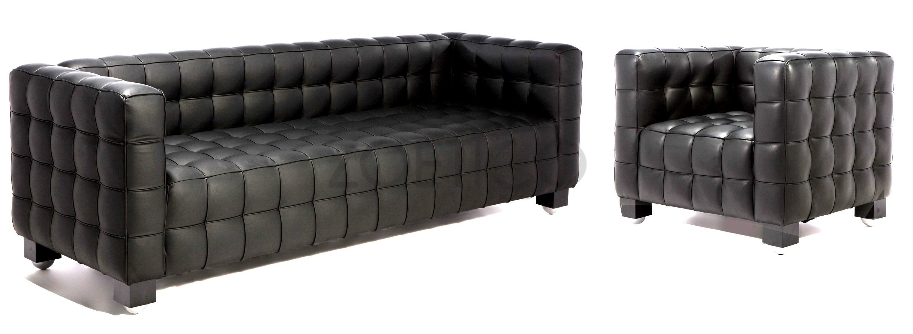 Josef Hoffmann Designs Style Kubus Suite Sofa In And Chair