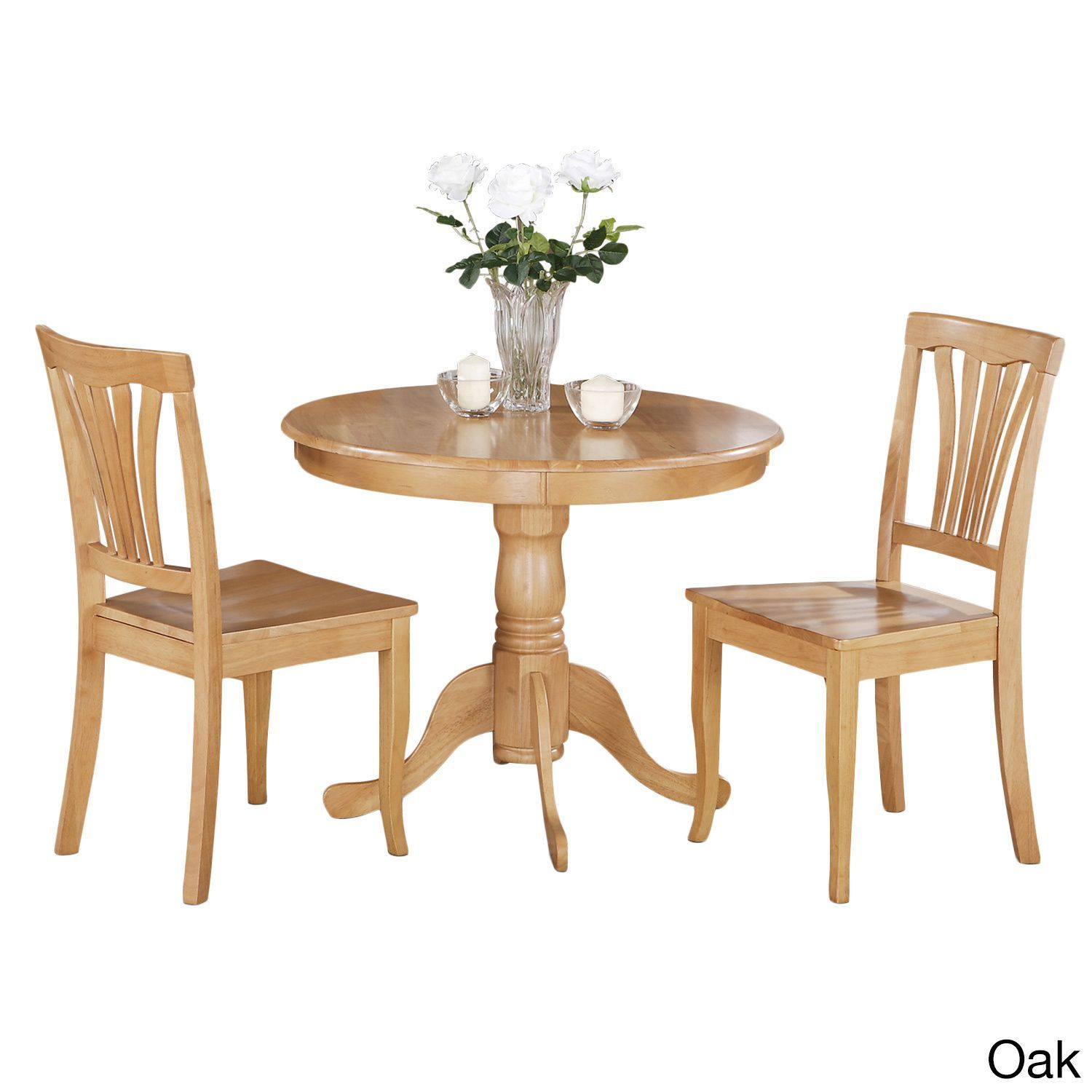 3 Piece Kitchen Nook Dining Set Small Table And 2 Chairs Oak Brown Size Sets
