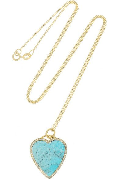 Jennifer Meyer Heart 18-karat Gold Turquoise Earrings gMoZW