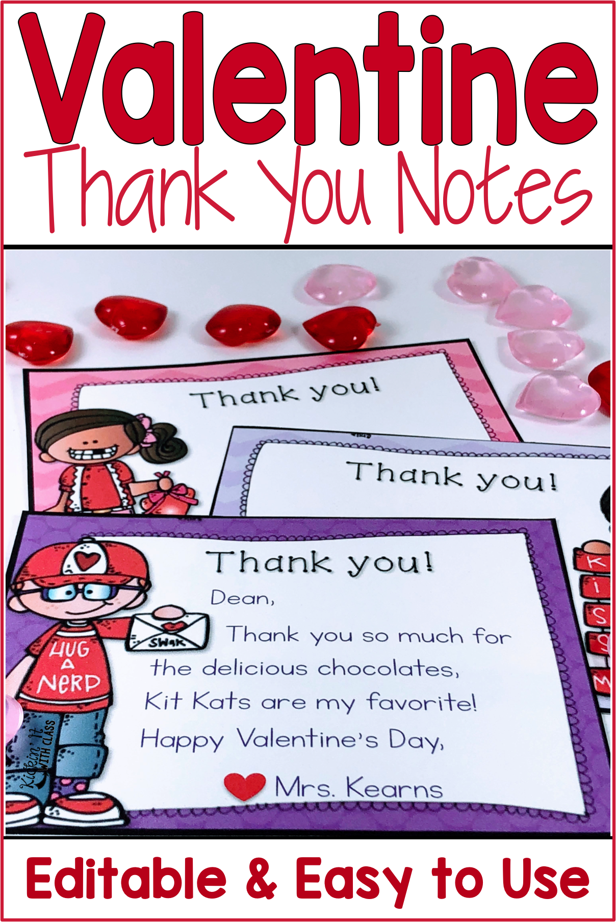 Valentine Thank You Notes Editable