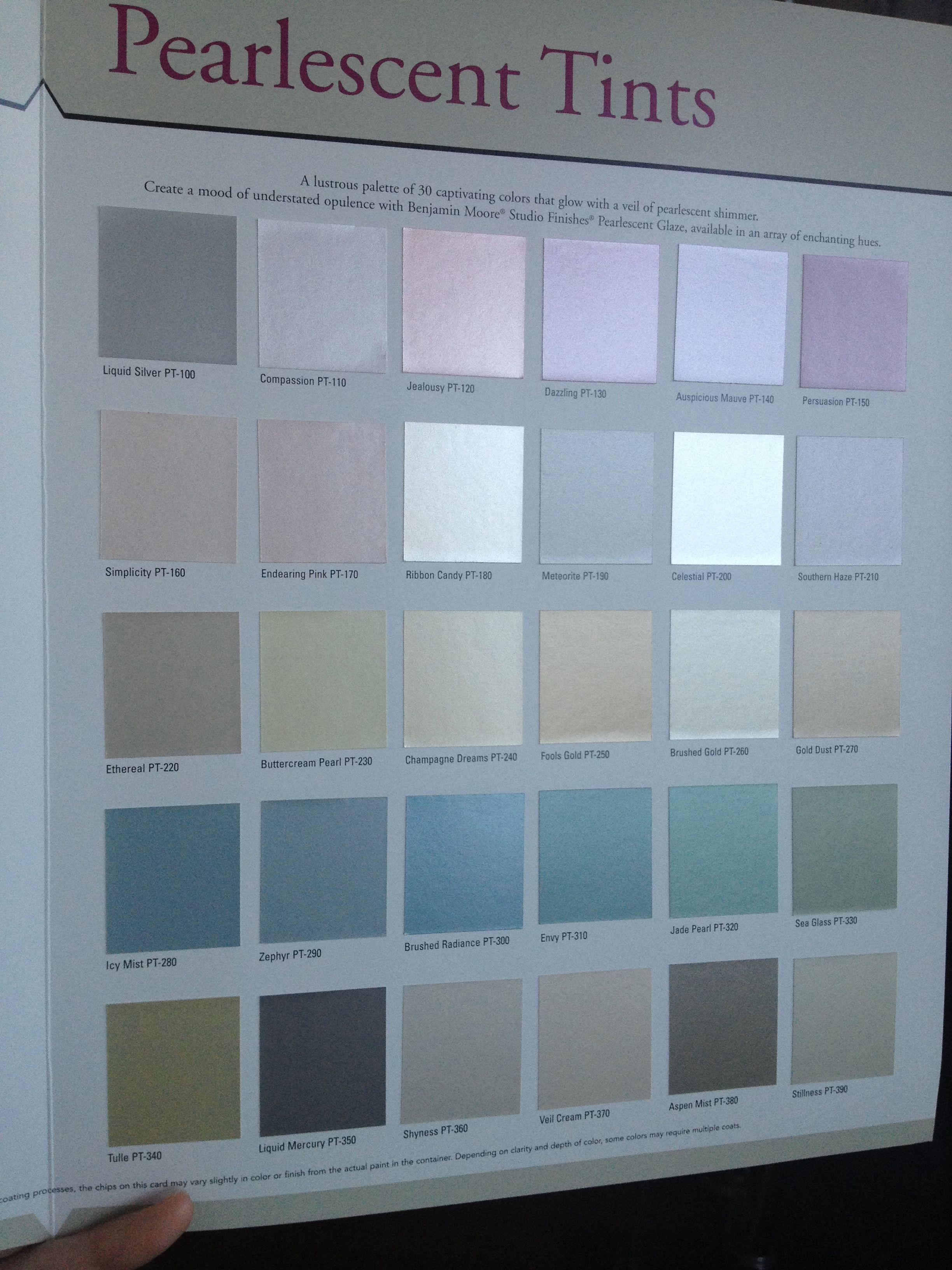 Benjamin Moore Pearlescent Tints With