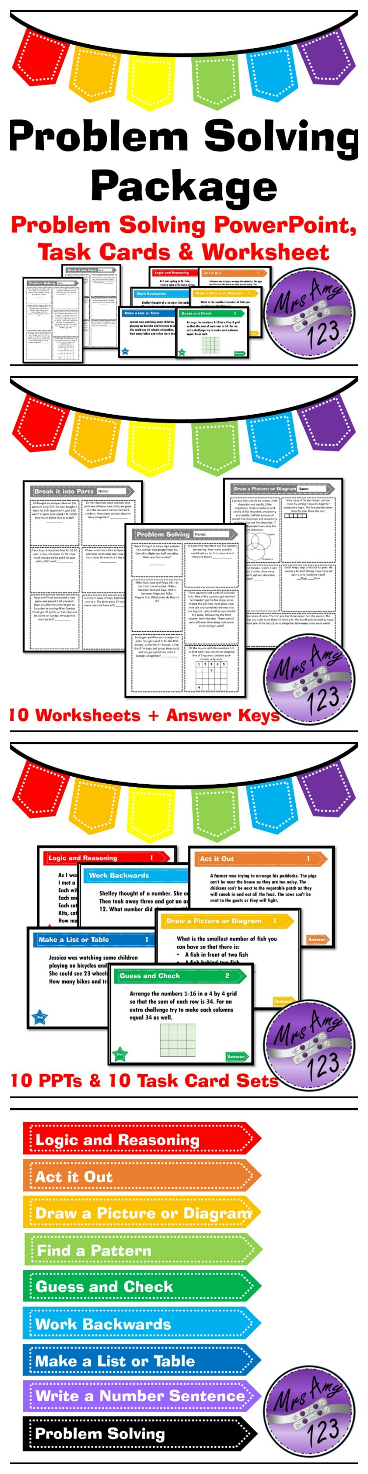 Problem Solving Bundle Posters PowerPoints and Task Cards