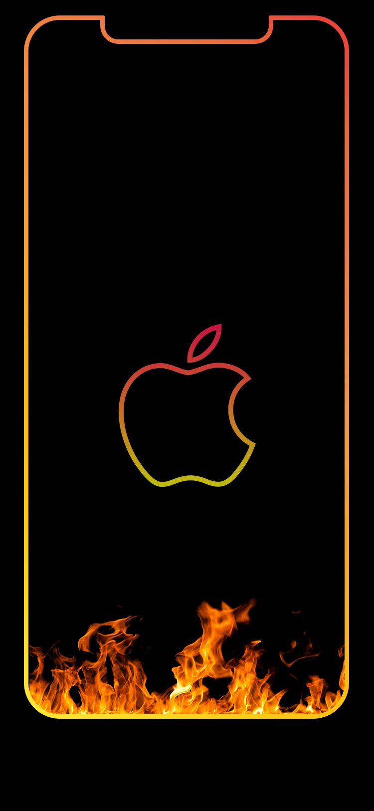 Iphone Xs Max Wallpaper Fire Outline Lockscreen Apple Wallpaper Apple Wallpaper Iphone Iphone Wallpaper