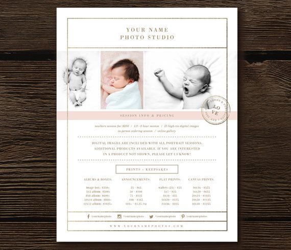 Newborn Photographer Price List Template By Designbybittersweet