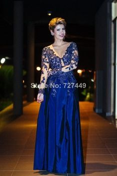 Vestidos De Fiesta 2014 New Arrival Sexy V-Neck Long Sleeve Lace Beaded Floor Length Prom Dresses Elegant Formal Evening Gowns