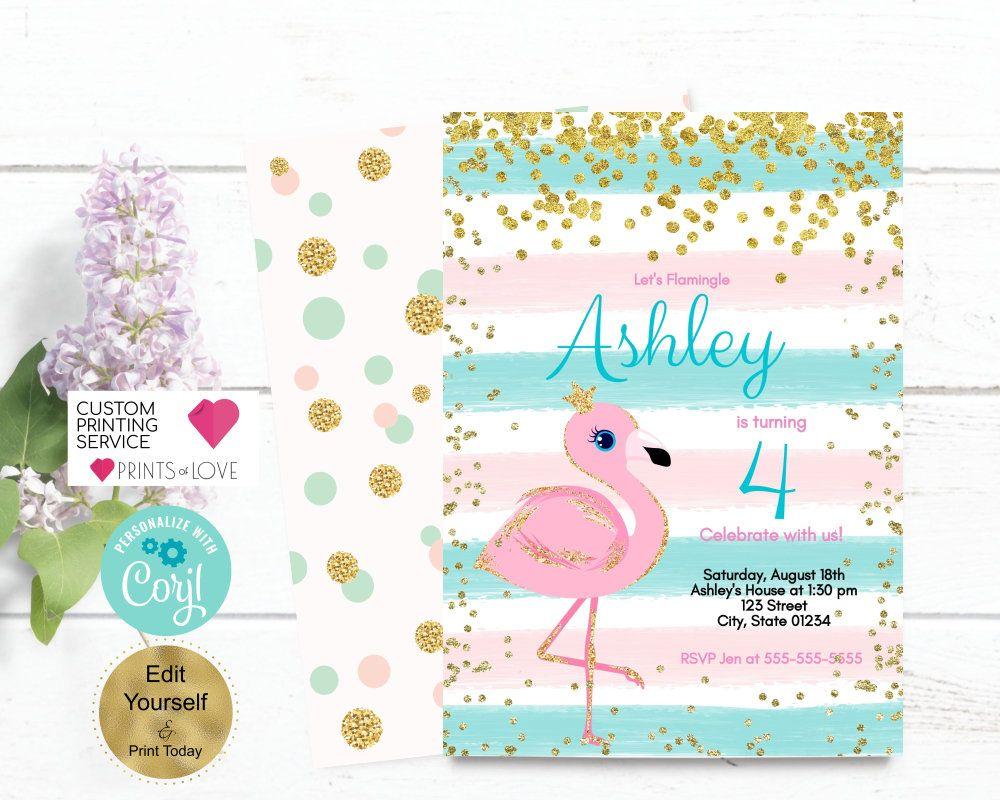 Flamingo Birthday Invitation. Flamingo Invitation. Flamingo Pool ...