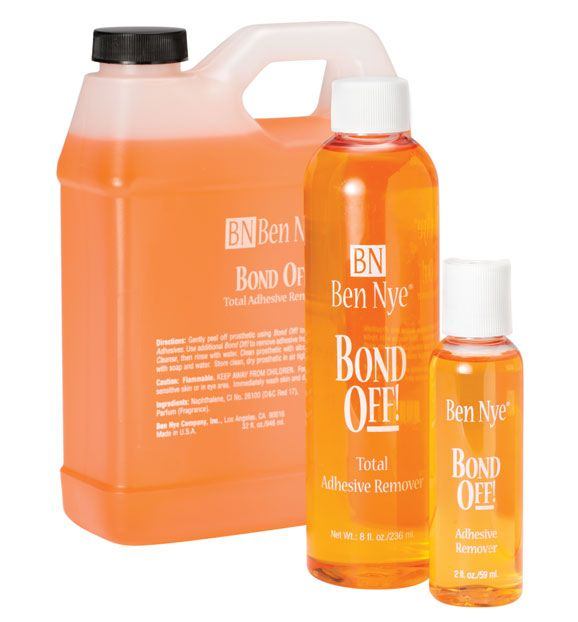 Bond Off- Thoroughly cleans Spirit Gum, Medical Adhesive and similar residues from skin and appliances. Follow with Hydra Cleanse or soap and water.