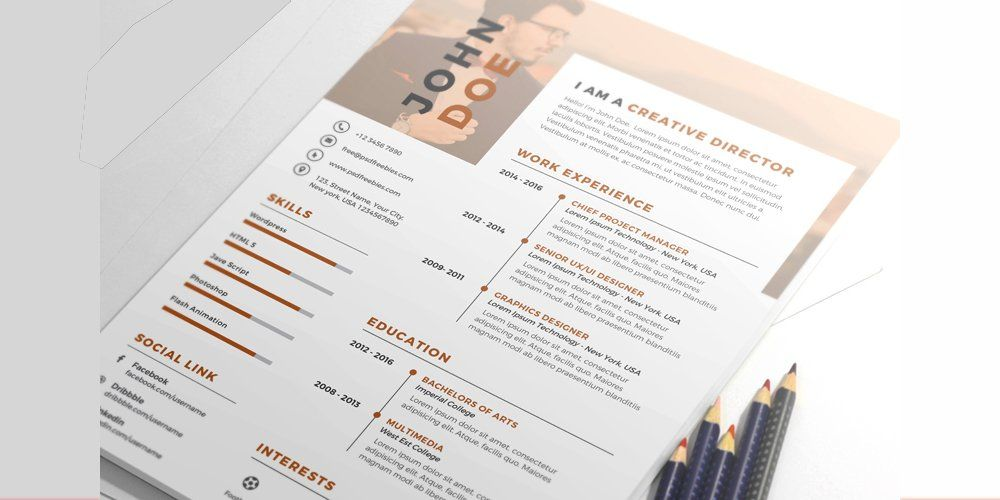 Nice and clean resume cv template psd resume template