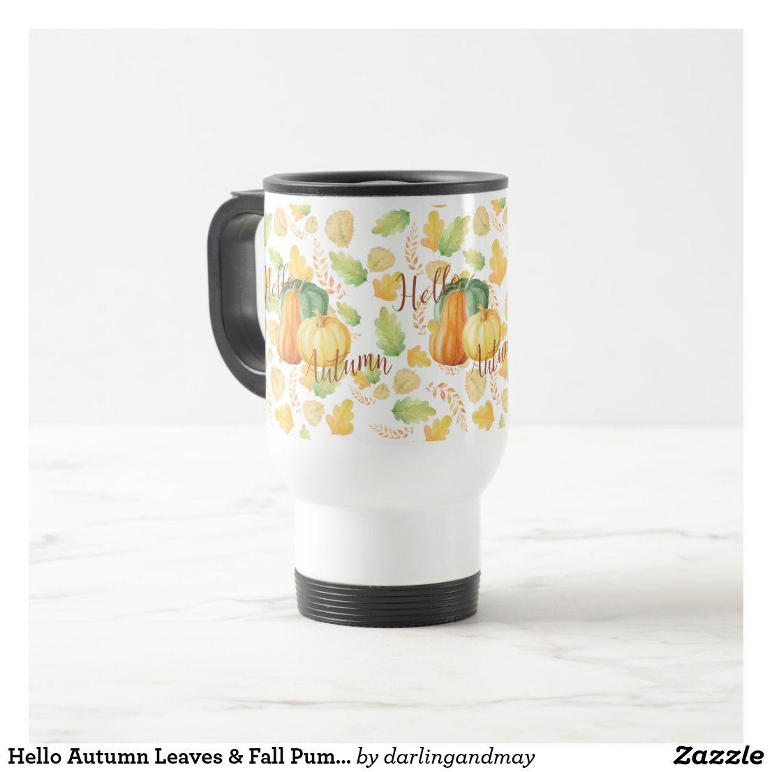 Hello Autumn Leaves & Fall Pumpkin Harvest Pattern Travel Mug | Zazzle.com #helloautumn