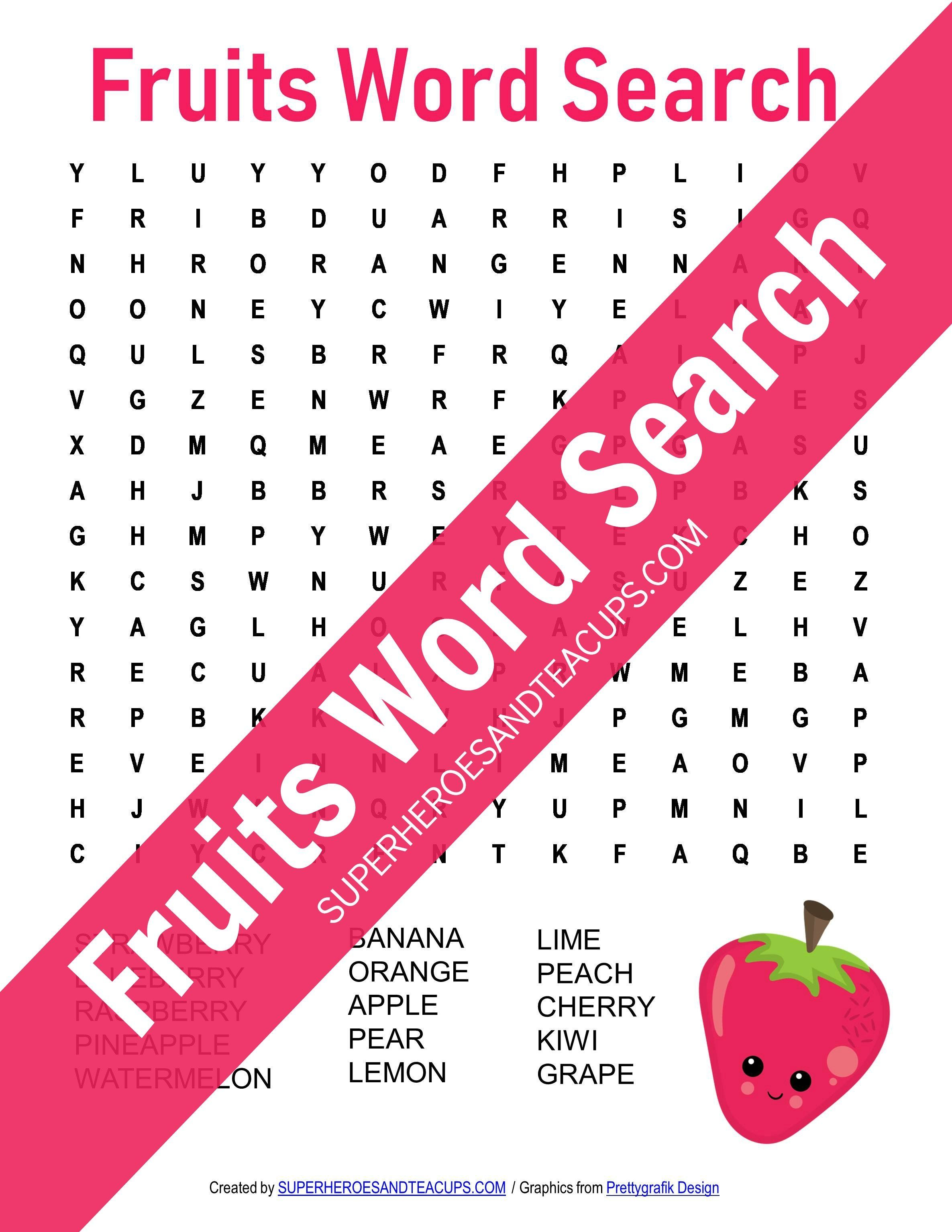 Fruits Word Search Free Printable For Kids