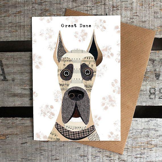 Great Dane dog greetings card Great dane dogs, Dane dog