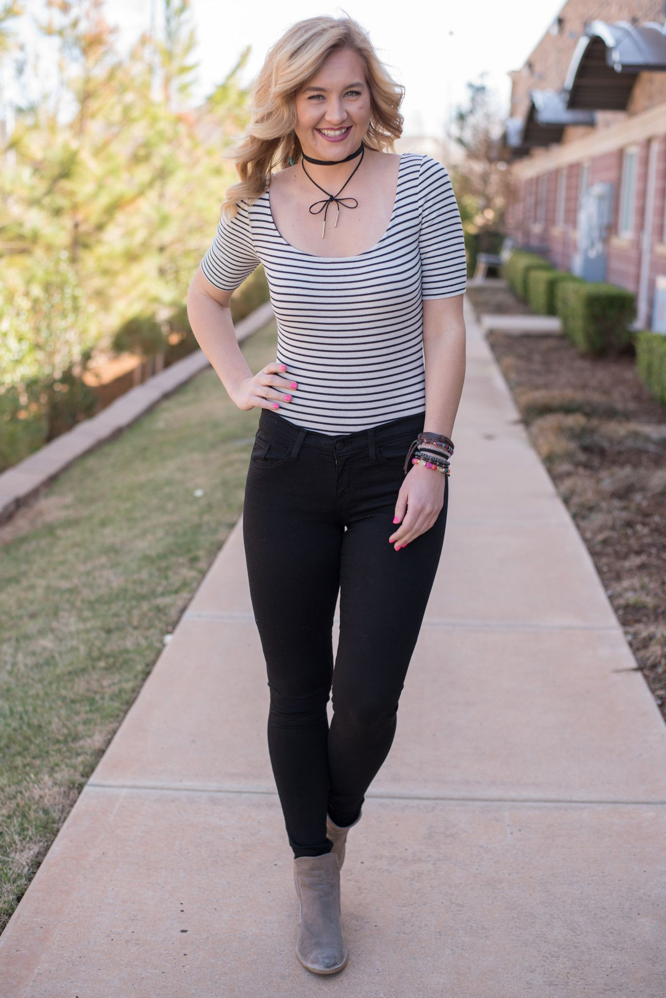 Striped lightweight bodysuit