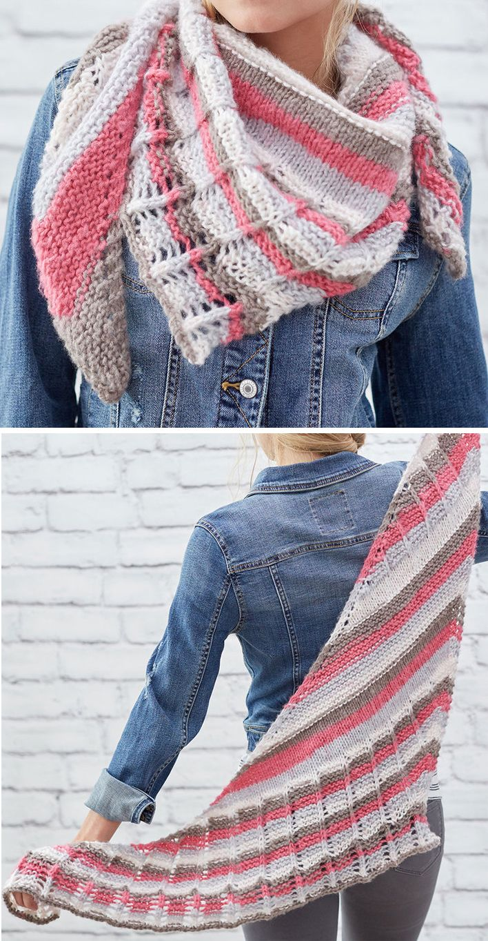 Free Knitting Pattern for One Skein Lacy Stripes Shawl - Elongated ...