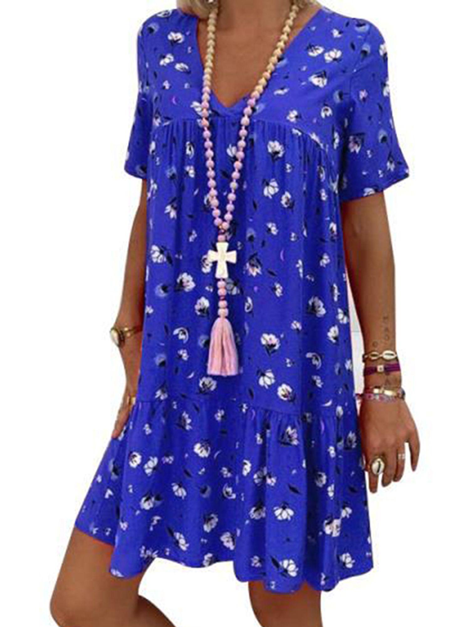 Wodstyle Women S V Neck Floral Short Sleeve Plus Size Loose Boho Mini Dress Plus Size Mini Dresses Boho Mini Dress Floral Print Shorts [ 2000 x 1500 Pixel ]