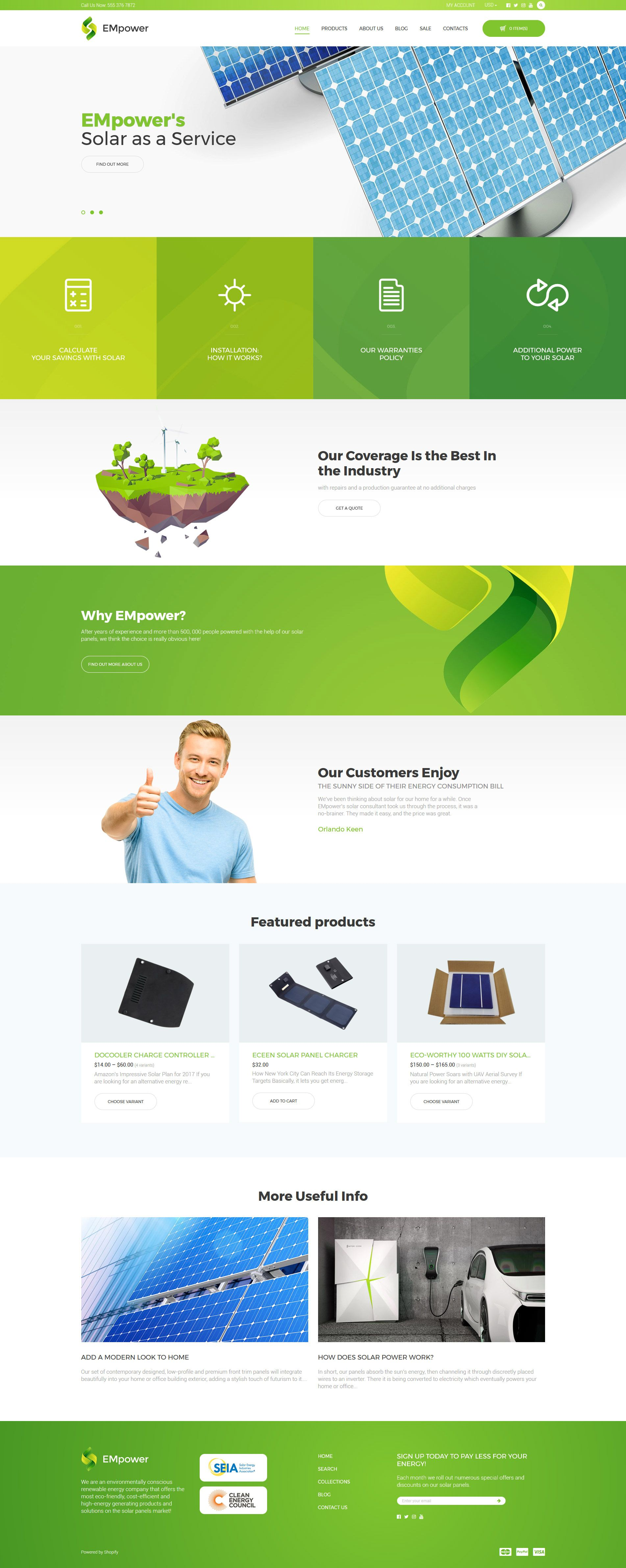 EMpower Solar Energy Shopify Theme Website Template