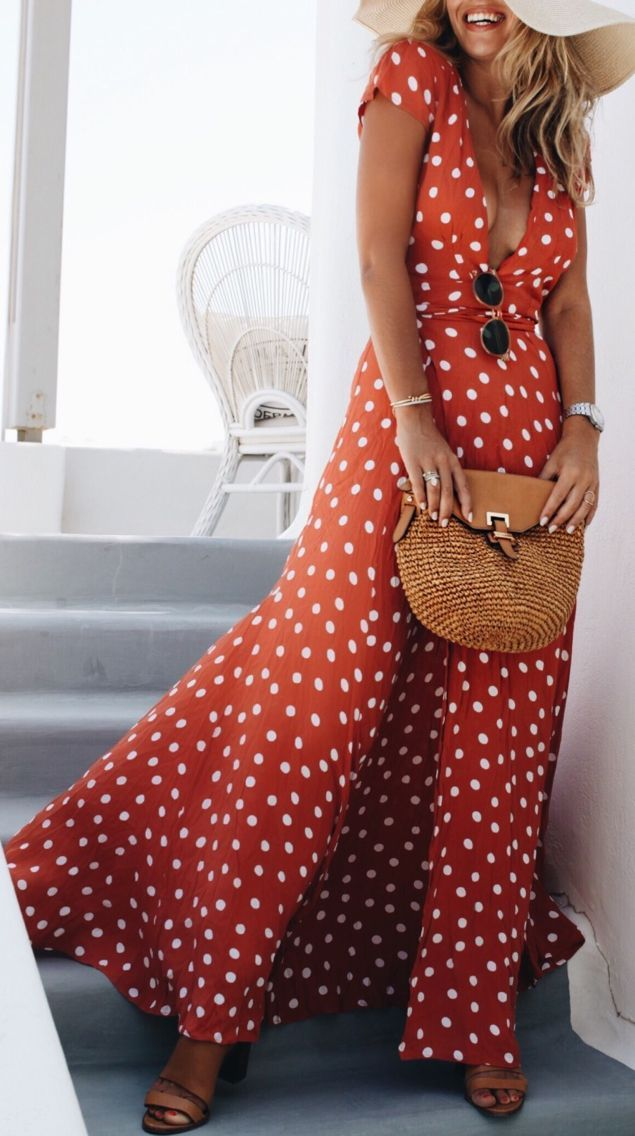 e1759a27bdc In love with this red polka dot maxi wrap dress