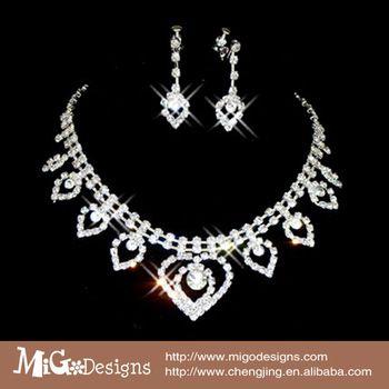 shamballa crystal jewelry set fashion crystal earrings + neckalce set wedding jewelry