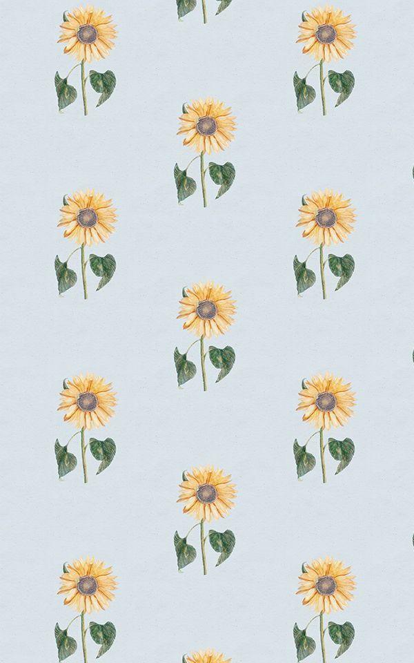 Vintage Yellow & Blue Sunflower Wallpaper | Murals Wallpaper