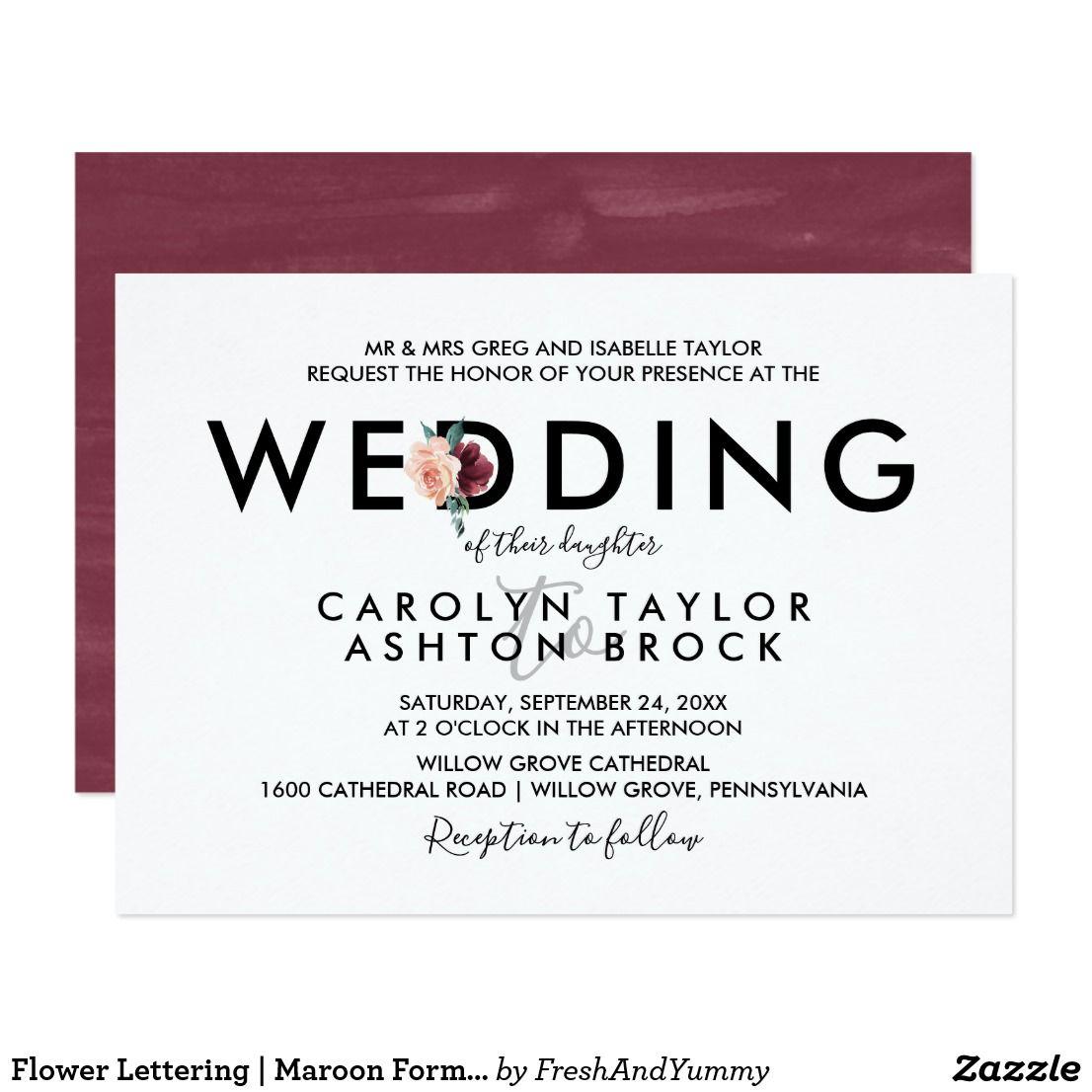 Flower Lettering Maroon Formal Wedding Card Formal Wedding