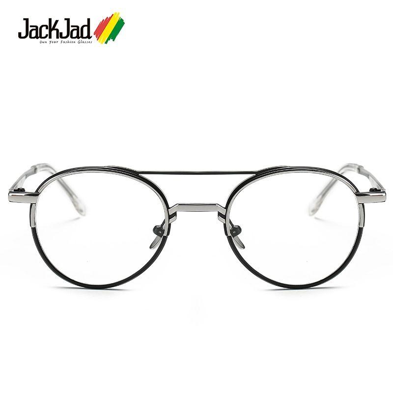 JackJad New Fashion Vintage Round Metal Double Color Frame Plain ...