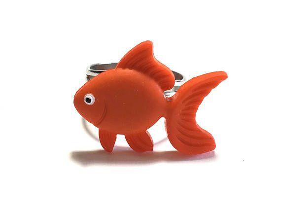 Fish Ring Gold Fish Ring Weird Gift Under 5 dollars Adjustable Ring Gift for her Orange Christmas Gift Ocean Life  sc 1 st  Pinterest & Fish Ring Gold Fish Ring Weird Gift Under 5 dollars Adjustable ...