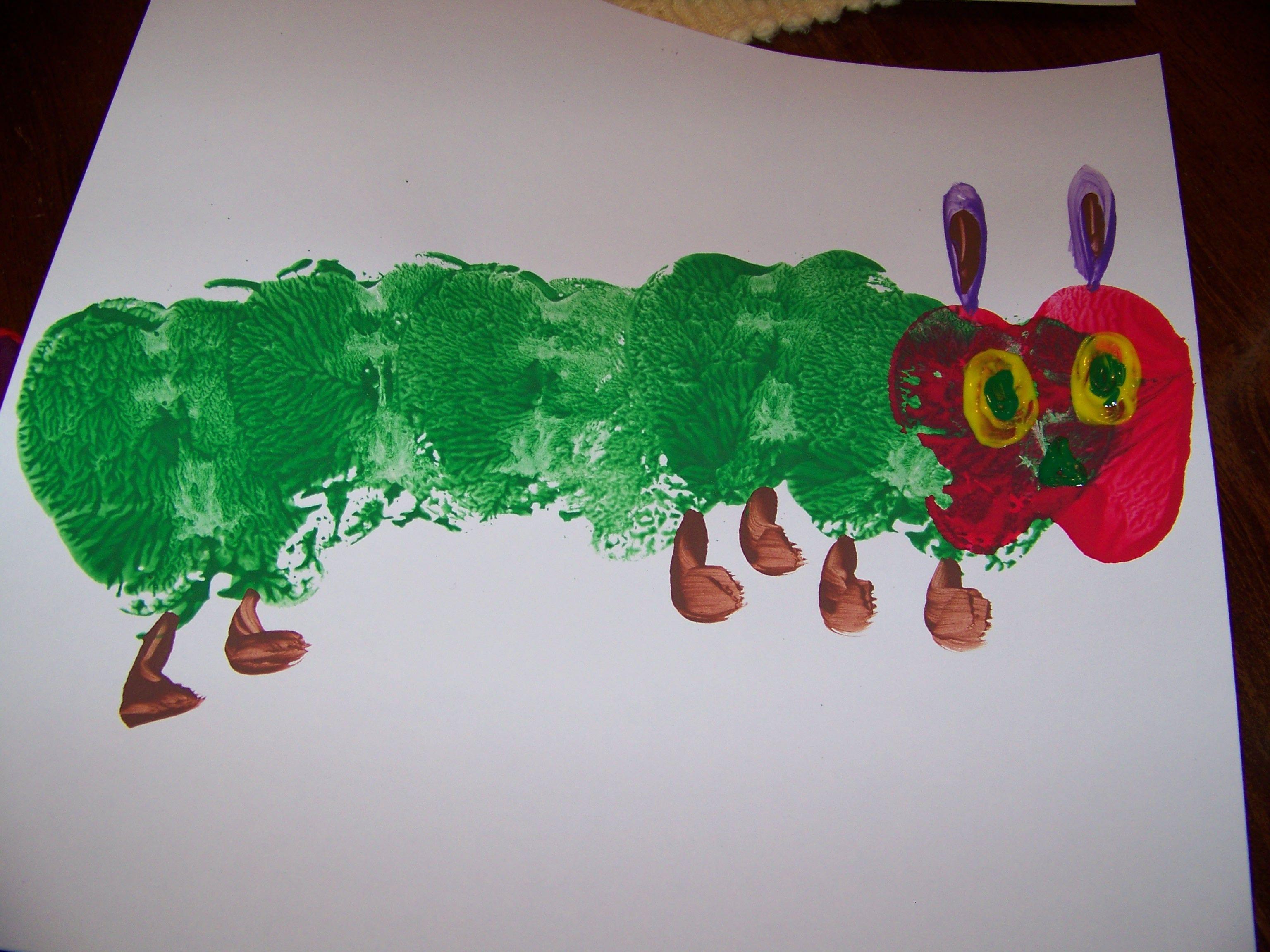 the very hungry caterpillar apple print craft hungry caterpillar