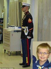 Cody Green, a 12-year kid in Indiana was diagnosed with leukemia at 22 months old. He loved the Marines;his parents said he drew strength  from the Marine Corps. 2 weeks ago, the Marines wanted to show how much they respected his will to live, his strength, honor and courage. They named him an honorary member of the US Marine Corps. For one Marine, that wasn't enough so that night, before Cody passed away, he took it upon himself to stand guard at Cody's door all night long.
