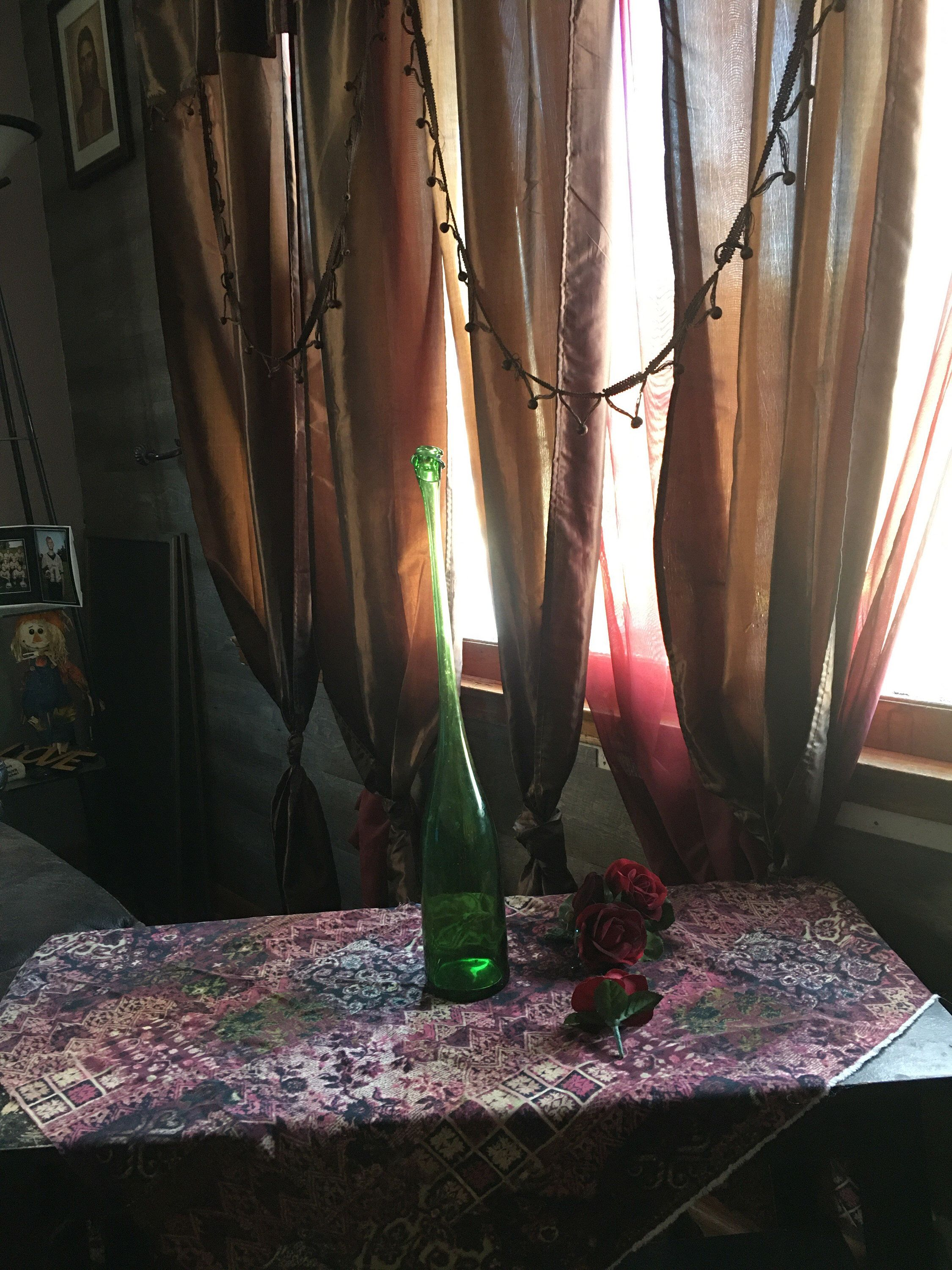 Photo of Vase, Wine bottle, hand altered into a unique home decor item, one of a kind piece. Rustic