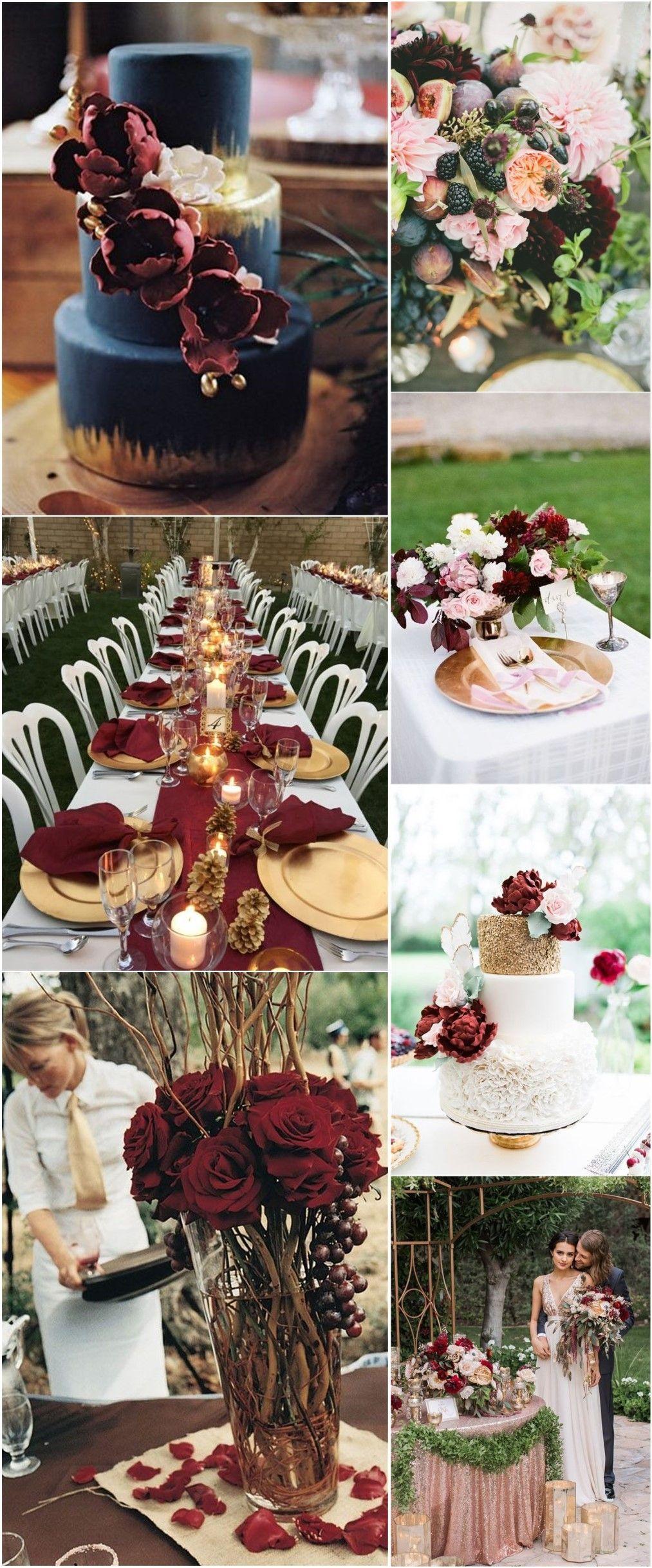 burgundy rose gold wedding colors