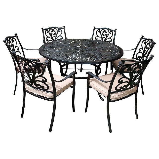 BuyLG Outdoor Devon 6 Seater Round Dining Table & Chairs Set