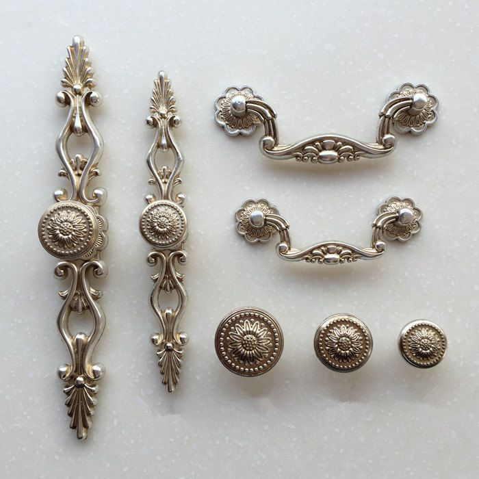 french shabby chic dresser drawer pulls handles antique silver