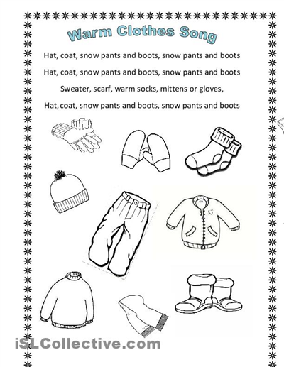 Winter Clothes Song (en Hommage To Arianey's Version) Clothes Worksheet, Winter  Kindergarten Worksheets, Printable Worksheets