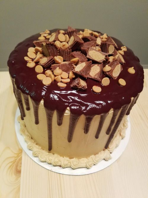 homemade milk chocolate and peanut butter cake via r food