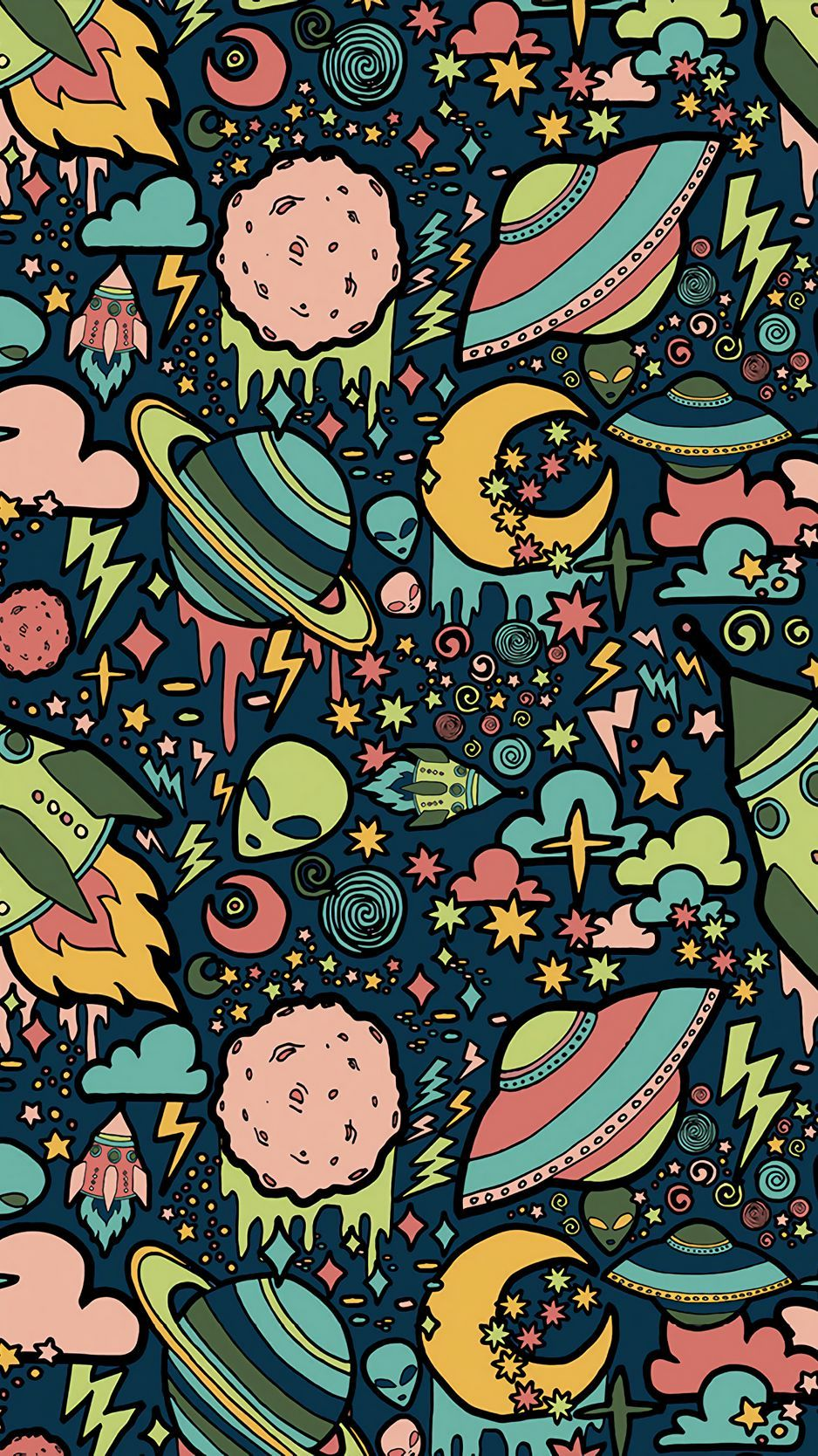 Download wallpaper 938x1668 texture, patterns, aliens, rockets, space iphone 8/7/6s/6 for parallax hd background