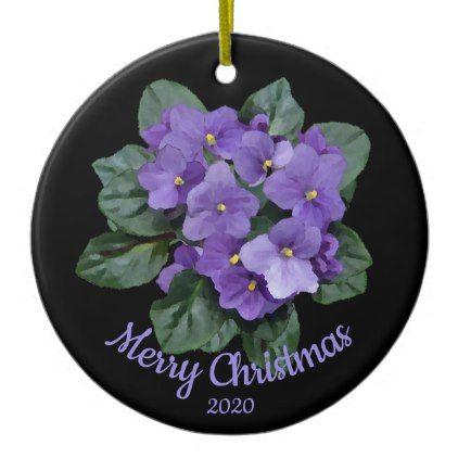 custom dated christmas african violet flower ceramic ornament xmas christmaseve christmas eve christmas merry xmas