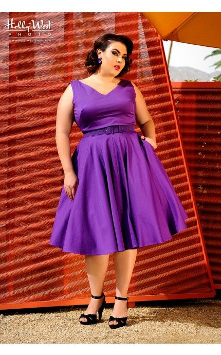 Pinup Couture- Havana Nights Dress in Purple - Pinup Girl Clothing