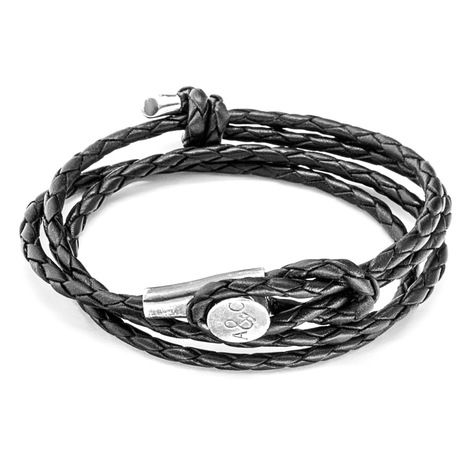 Anchor & Crew Black Dundee Silver and Rope Bracelet apXmBlm
