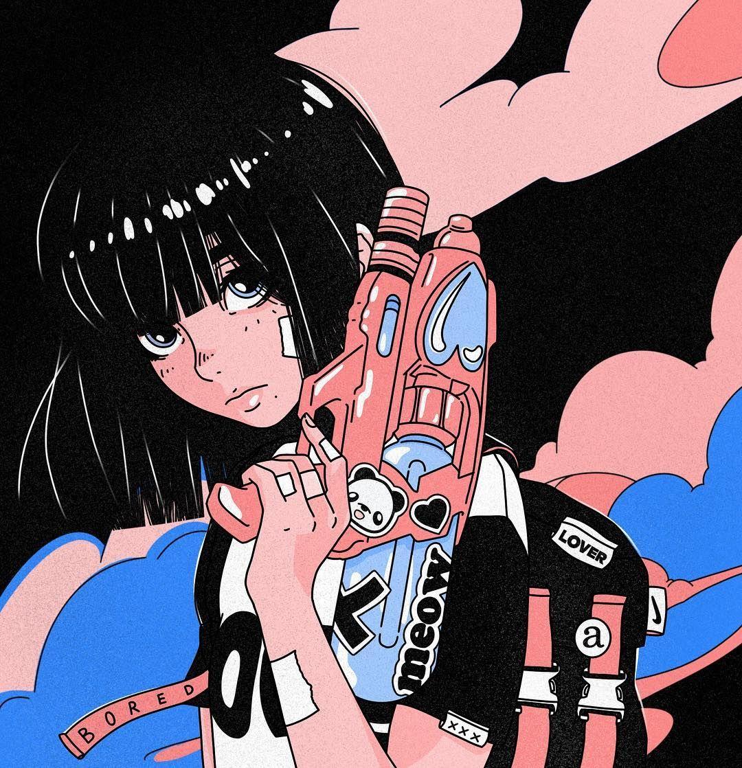 Liquid Love Illustration Digitalart Procreate Animeart Mangaart Aesthetic Vaporart Dreamwave Futu Aesthetic Anime Anime Wall Art Anime Wallpaper