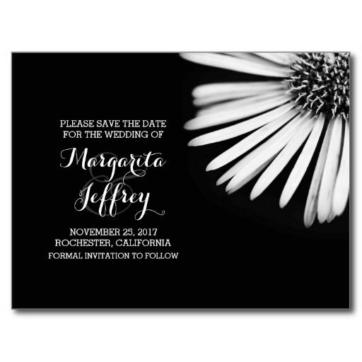 Black and white blossom save the date post card